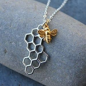 Jewelry - Honey Comb Bee Authentic Gold Necklace